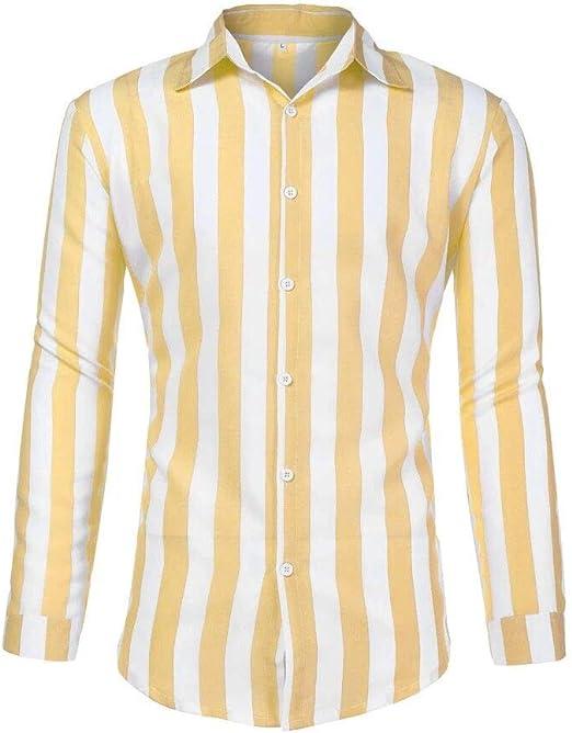 Camisa para Hombre, Manga Larga, Slim Fit, Raya Camisa Elástica Formal Casual para Hombre