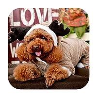ペットの四足の服犬服エルク二重層の厚いテディVIP小型犬の冬の新年の犬の綿のコート-Mバックの長さ24-29cm-