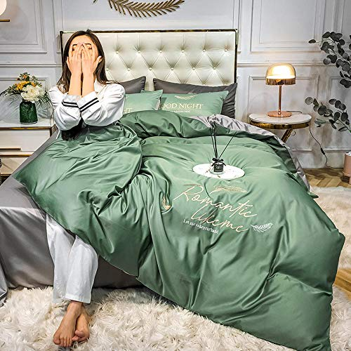 Bed Sheet Set,Solid color Tencel four-piece spring and summer washed silk 4-piece set embroidered ice silk bed linen bed skirt models bedding-Lime green_2.0m [Applicable: 1.5m/1.8m]