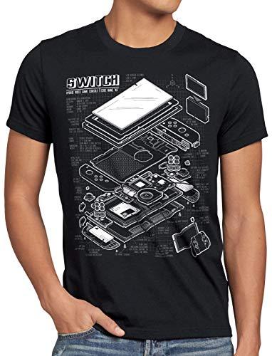 style3 Switch Blaupause Herren T-Shirt pro Gamer Konsole Joy-Con, Größe:M, Farbe:Schwarz