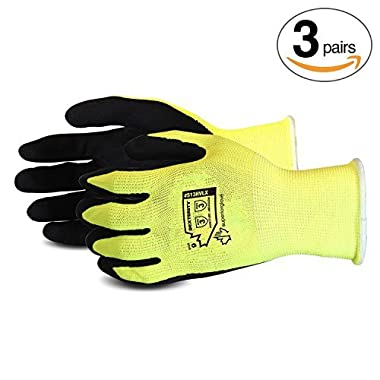 Superior Gardening Gloves 3-Pack for Landscaping and Yard Work – Rose Pruning Gloves with Moisture Wicking (High Visibility Color) S13HVLX– Size Medium