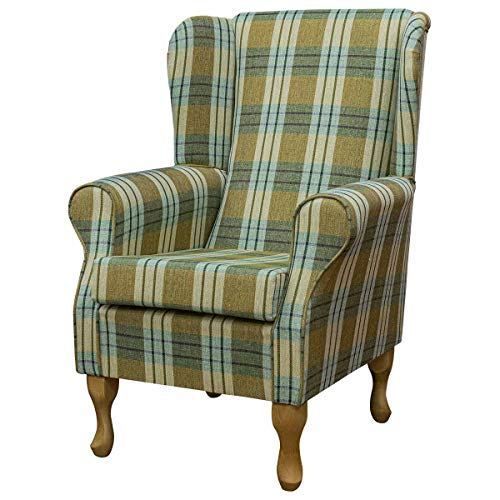 High Wing Back Fireside Chair -Kintyre Pampas Tartan Fabric Seat - Comfy Armchair With Queen Anne or Straight Tapered Legs