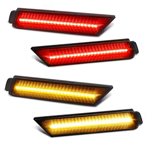RUXIFEY Smoked Lens LED Side Marker Lights Front Rear Bumper Sidemarker Lamps Reflectors Compatible with 2010 to 2015 Chevy Camaro Red Amber - Pack of 4