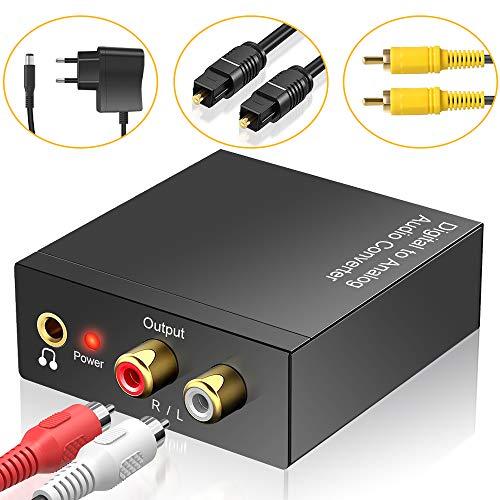 DAC Konverter, Neefeaer Aluminium Digital SPDIF Toslink zu Analog Audio Konverter mit Optisches Kabel, Koaxialkabel, R/L 3.5mm Jack Audio Adapter für PS3, PS4, Xbox One, HDTV, Blu-Ray, DVD