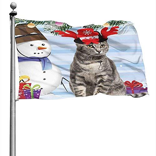 jiaxingdalin Weihnachtsmütze Nette Katze Schneemann Flagge 3D gedruckte Yard Flagge Wetterfeste dauerhafte Saison Flagge Garten Willkommensflagge Waschbare Yard Flagge