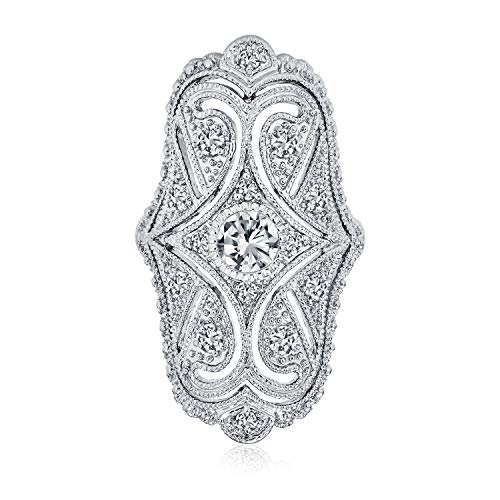Bling Jewelry Deco Estilo Antiguo Filigrana Pave CZ Armadura