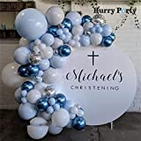 TSAUTOP Newest Ducha Kit 100pcs Colores Pastel Macaron Blanco Azul Globos Garland Arco Azul metálico Globos de Boda del bebé del cumpleaños decoración del Partido (Color : Set)