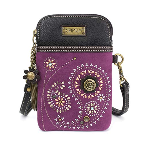 Chala Dazzled Crossbody Cell Phone Purse - Women Faux Leather Multicolor Handbag with Adjustable Strap - Paisley Purple