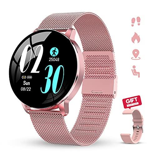 """GOKOO Reloj Inteligente Mujer Smartwatch 1.3"""" IPS Pantalla Pulsera Actividad Completa Táctil Reloj Deportivo IP67 Impermeable Compatible con Android iOS (Rosado)."""