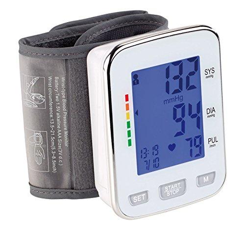 newgen medicals Blutdruckmesser: Med. Handgelenk-Blutdruckmessgerät, XL-Display, 2x 60 Speicherplätze (Handgelenkblutdruckmesser)