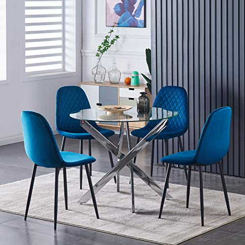 BODLRY Velvet Dining Chairs Set of 4 for Living Room, Fabric Upholstered Seat, Modern Office Reception Chairs with Black Metal Legs, Mid-Century Backrest Occasional Velvet Chair Lounge Party (Blue)
