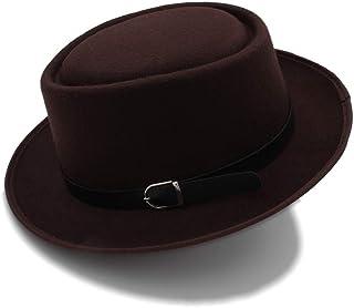ヴォーグメンズFedoraワイドつばの古典的な冬の黒人男性豚肉パイ帽子フェルト帽 JIADUOBAOSEN (色 : コーヒー, サイズ : 56-58CM)