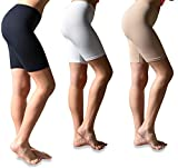 Sexy Basics Womens 3 Pack Buttery Soft Brushed Active Stretch Yoga Bike Short Boxer Briefs (3 Pack- Black/Hazlenut/White, X-Large)