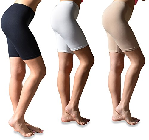 Sexy Basics Womens 3 Pack Buttery Soft Brushed Active Stretch Yoga Bike Short Boxer Briefs (3 Pack- Black/Hazlenut/White, Large)