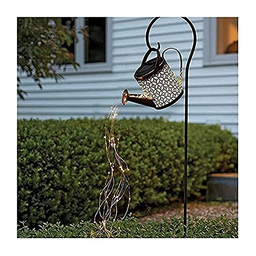 Yokbeer Watering can Garden Outdoor Shower Light Hervidor de Agua Hueco de Hierro Forjado Luces de Enchufe para El Piso De Ducha Estrellas Luces de Hadas de Riego Solar con IP65 36 Luces LED Impermeab