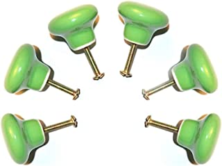 FatColo(TM) Ceramic Porcelain china Vintage Round Style Bedroom Door Cabinet Cupboard Drawer Knob Pull Handle (Button shape / Green / Pack of 6)
