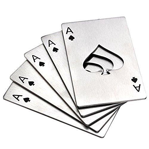 MINGZE Abrebotellas de 5 pedazos, abrebotellas de la cerveza, tamaño de la tarjeta de crédito del acero inoxidable Abrebotellas del casino para su monedero (Plata)