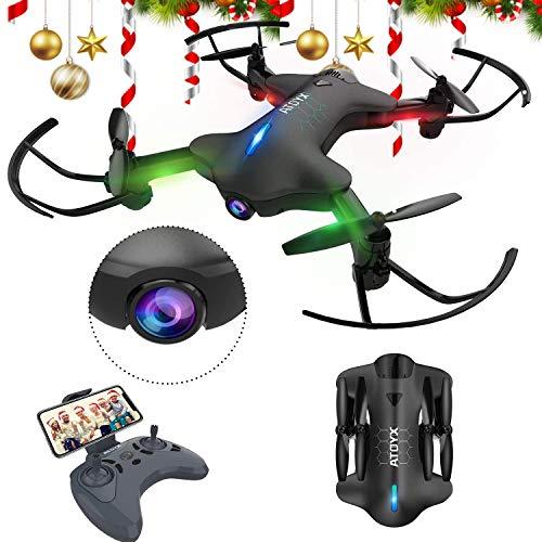 ATOYX Drone con Camara, 720 HD Drone Plegable con App WiFi FPV , Altitud Hold, Modo sin Cabeza, Una Tecla de Despegue y Aterrizaje de Gravedad RTF, Mejor Regalo,AT-146