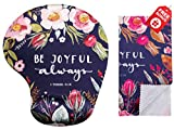 Bible Verses Be Joyful Always Ergonomic Design Mouse Pad with Wrist Support. Gel Hand Rest. Matching Microfiber Cleaning Cloth for Glasses & Electronics. Christian Mouse Pad for Laptop & Computer