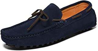 QinMei Zhou Casual Driving Loafer for Men Fashion Boat Moccasins Lace Up Flat Penny Shoes Slip-on Suede Leather Upper Lightweight (Color : Blue, Size : 8 UK)