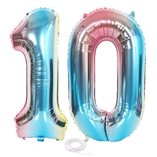 SNOWZAN XL Zahlen Ballon Nummer 10.Luftballon Regenbogen Mädchen Junge Luftballons Zahl 10.Geburtstag Deko Blau Rose Bunt Schillernde 10 Jahre FolienBallon 32 zoll Riesen Helium Happy Birthday Party