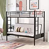 Metal Bunk Bed Twin Over Full Size Loft Bunk Bed Frame Twin Over Futon for Kids and Teens, with Ladders and Guard Rails, 300 lbs Weight Limits,Black