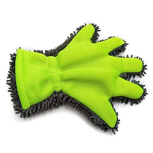 Fovely Mikrofaser-Autowaschhandschuh - 5-Finger-Dual-Wash-Mikrofaserhandschuh, Autowaschhandschuh - Nudel-Mikrofaserwaschhandschuhe Autowaschhandschuh, Grün