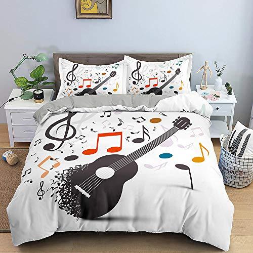 HGFHGD 3D-Bettwäsche-Set, Motiv: Musikgitarre, für Erwachsene und Kinder, Weiß