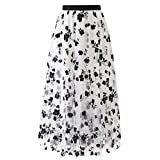 OutTop Long Skirts for Women Swing Floral Print Tulle Skirt Elastic Waist Loose Elegant Pleated Maxi Skirt Dresses (White, XL)
