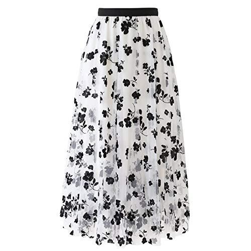 Midi Long Skirts for Women A-line Mesh Pleated Skirt Spring Summer Elastic High Waist Tutu Maxi Dress White