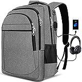 PUREBOX Laptop Rucksack Herren Tasche 17,3 Zoll Wasserdicht Arbeit Rucksack Schulrucksack mit USB-Ladeanschluss und Kopfhörerschnittstelle Business Daypack Wanderrucksack, 45L (Hellgrau)