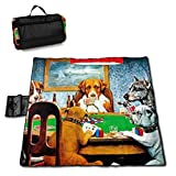Suo Long Picnic Blanket Dogs Playing Poker Divertido Picnic Mat Beach Blanket