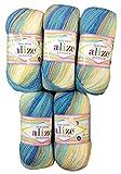 Alize 5 x 100g Babywolle Bebe Batik blau beige Creme Weiss Nr. 4398, 500 Gramm Wolle zum Stricken und Häkeln