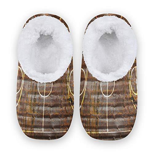 TropicalLife JNlover Sport Zapatillas de baloncesto para mujer y hombre, con parte trasera cerrada, cómodas zapatillas de forro polar coral para interiores y exteriores, color, talla Large