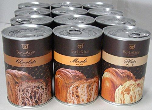 常温3年保存 デニッシュパンの缶詰【缶deボローニャ】12缶セット(プレーン・メープル・チョコ各4缶)
