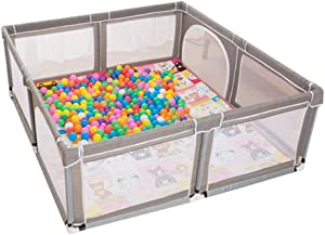 YEHL Playpen Baby Play yard Toddler Indoor Playground Portable Child Safety Fence Play Pen with Crawling Mat  amp  Balls  Gray  Size 180x190cm