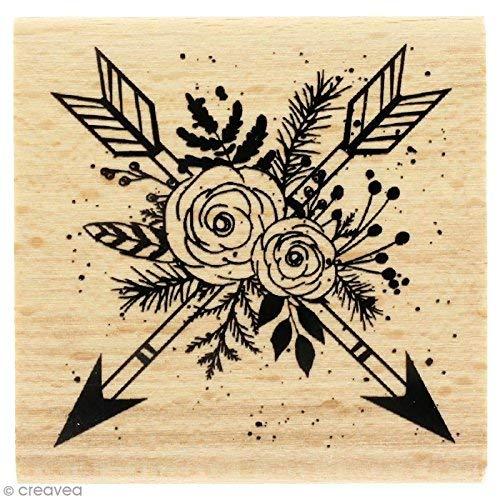 Florilèges stempel ontwerp pijlen, hout, natuurlijk, 6 x 6 x 2,5 cm