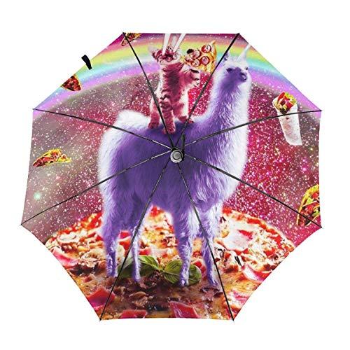 Automático Abrir Cerrar A Prueba de Viento Compacto Anti-UV Paraguas de Viaje Láser Ojos Espacio Gato Montar Llama Arco Iris Ligero Sombrilla Sombrillas Sol y Lluvia
