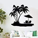 mlpnko Vinyle Autocollants Palm Beach Loisirs Stickers Muraux Amovible Vinyle Stickers Muraux Décoration de La Maison Mural63X78 cm