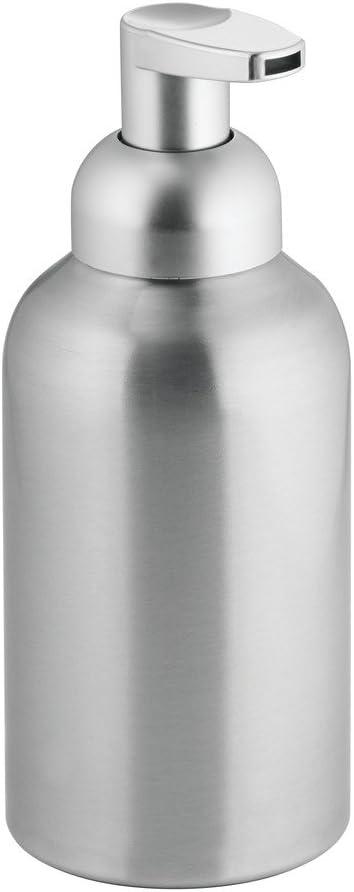 InterDesign Metro Dispensador de Espuma de jabón, dosificador de jabón líquido de tamaño Grande de Aluminio y plástico, Plateado Mate