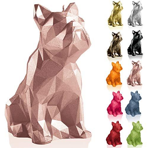Candellana Kerze Bulldogge Low Poly | Höhe: 15 cm | Goldrosa | Handgemacht in der EU