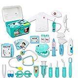 deAO Valigetta del Dottore e Dentista Set 2in1 Dottore e Infermieristica Clinica Dentale Gioco per Bambini Include 17 Accessori Luci e Suoni