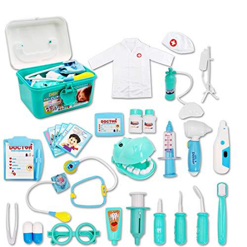 deAO Maletín de Doctor y Dentista Conjunto 2en1 Doctor y Enfermería Clínica Dental Juego para Niños y Niñas Incluye 17 Accesorios Luces y Sonidos Juegos de Imitación (Azul)
