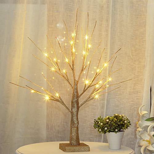 ICECON Glitter Twig Tree Light Silver Branch 1.47ft / 45cm Preparto de la decoración del Dormitorio de la casa con Luces de 24 LED, Operación de la batería, Plata
