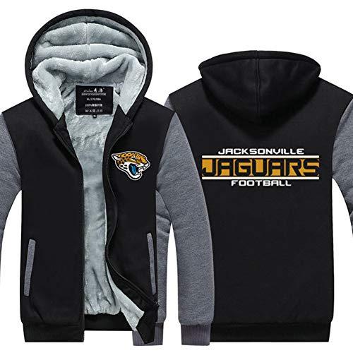 HS-Zak Miller Wattierte Jacke Jaguars Rugby-Bekleidung Herbst Und Winter Unisex Training Wear Fleece-Futter Kapu Lässige Hoodie Lockere Sweatshirt,M