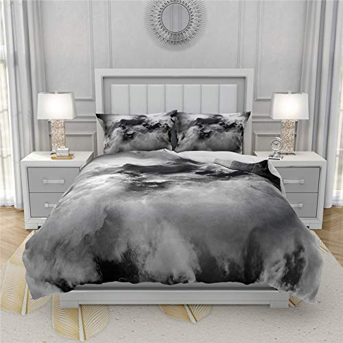 Set Copripiumino Da Letto,Nuvole Grigio Scuro Sky Bed Set Confortevole Keep Warm Twin Full Queen King Size 3D Stampato Polyester Kids Duvet Cover Set Single Double Bedding Bedcloth, Uk Single 135X200C