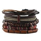 HZMAN Mix 5 Wrap Bracelets Men Women, Hemp Cords Wood Beads Ethnic Tribal