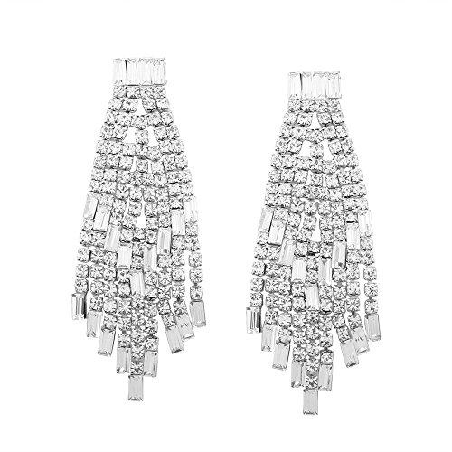 Oorbellen, oorclip, Pendientes, Hoepels Luxe diamant-studded kwast lange bruidsjurk, zilver minimalistisch, Koreaanse versie, accessoires, prachtige, vintage