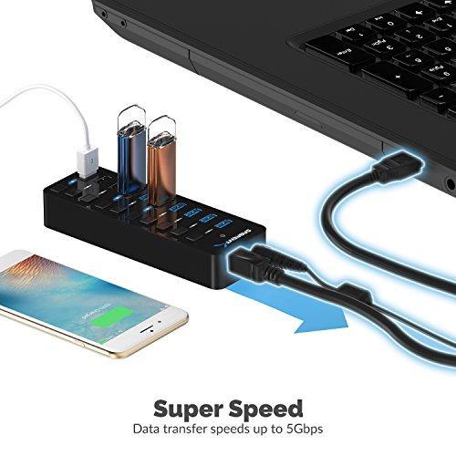 Sabrent USB Hub 60W 7-Port USB 3.0 Hub + 3 intelligente Ladeanschlüsse mit individuellen Netzschaltern und LEDs inklusive 60W 12V / 5A Netzteil (HB-B7C3)