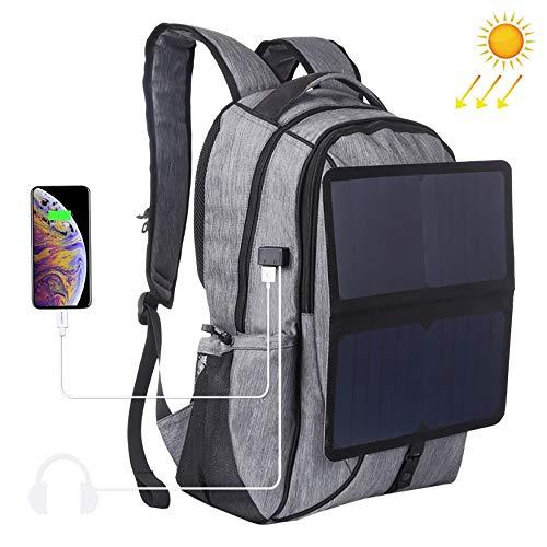 14W Solar Power Rugzak, outdoor, draagbaar canvas met dubbele schouders, laptop, rugzak, dual usb, oplaadbaar, waterdicht en anti-diefstal-design